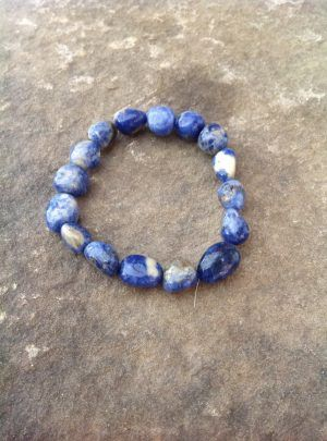 Sodalite bracelet #4 good for anxiety attacks pebblenugget shaped beaded bracelet intuition self acceptance objectivity calming