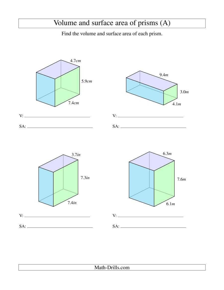 4 Worksheet Free Math Worksheets Sixth Grade 6 Geometry Rectangular Prism Volume Surface Area Area Worksheets Volume Worksheets Rectangular Prism