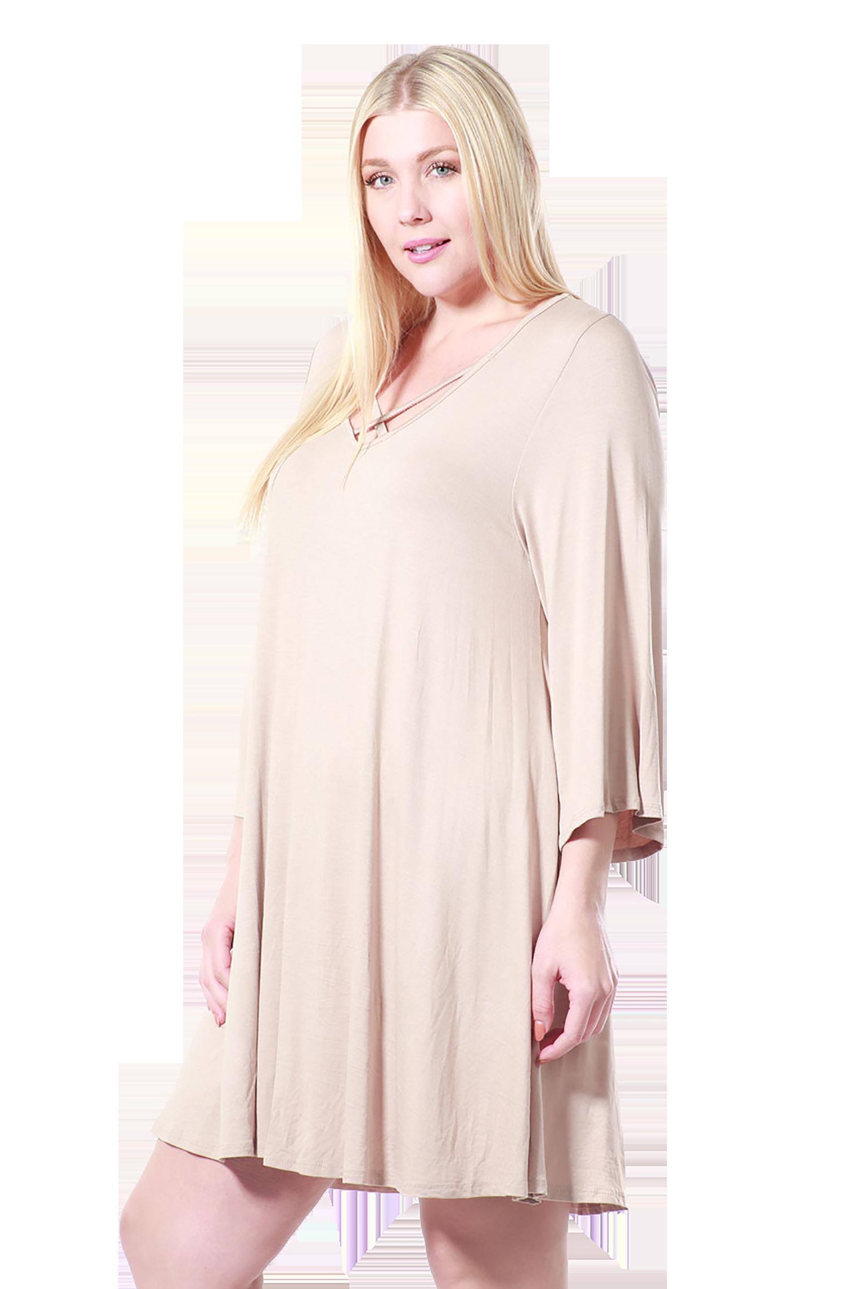 Women's Plus Size Drawstring Half Sleeve Blouse Dress Made in USA 1X 2X 3X – Black / 1XL