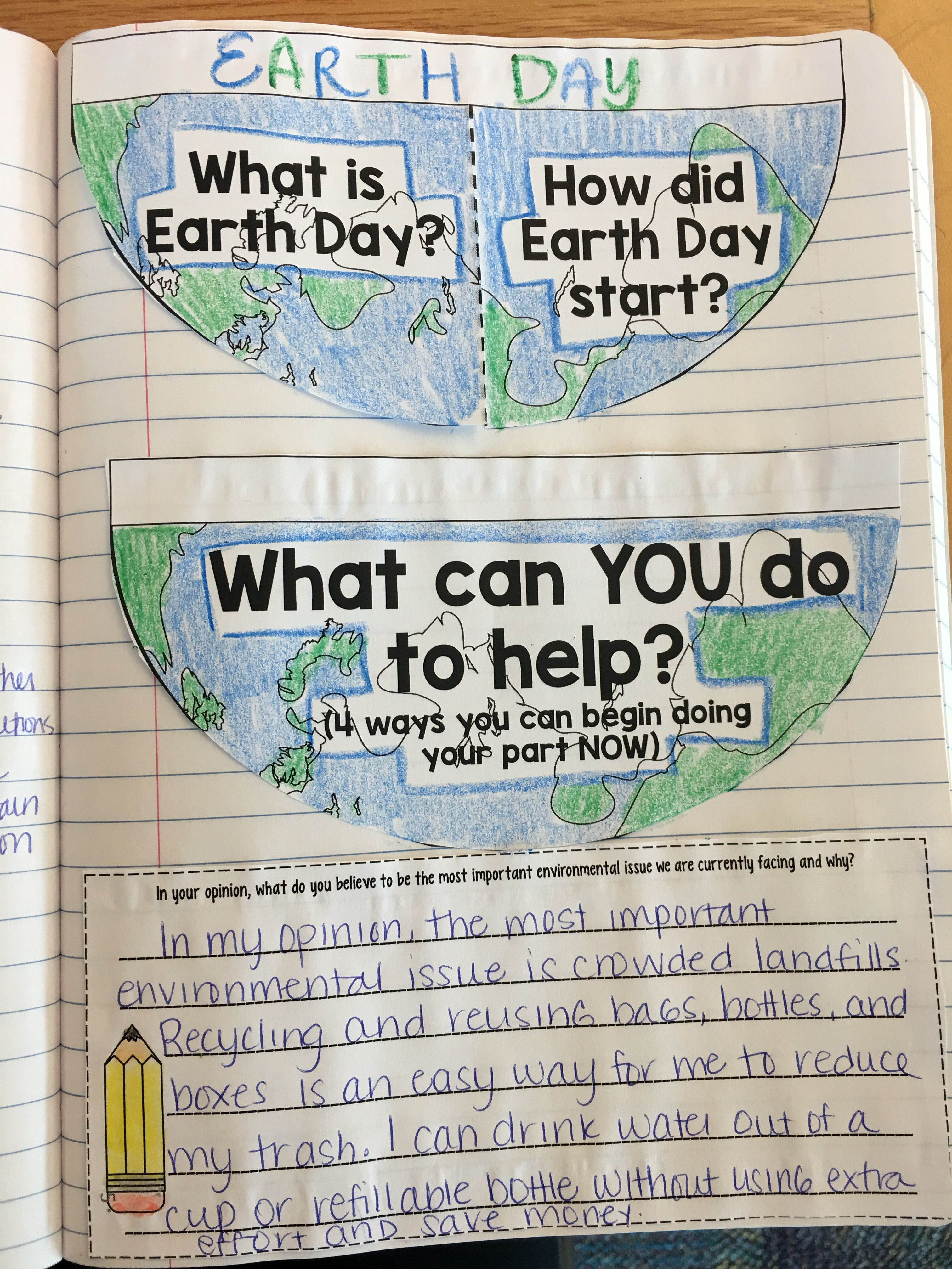 Earth Day Reading Interactive Notebook Activity | Earth day