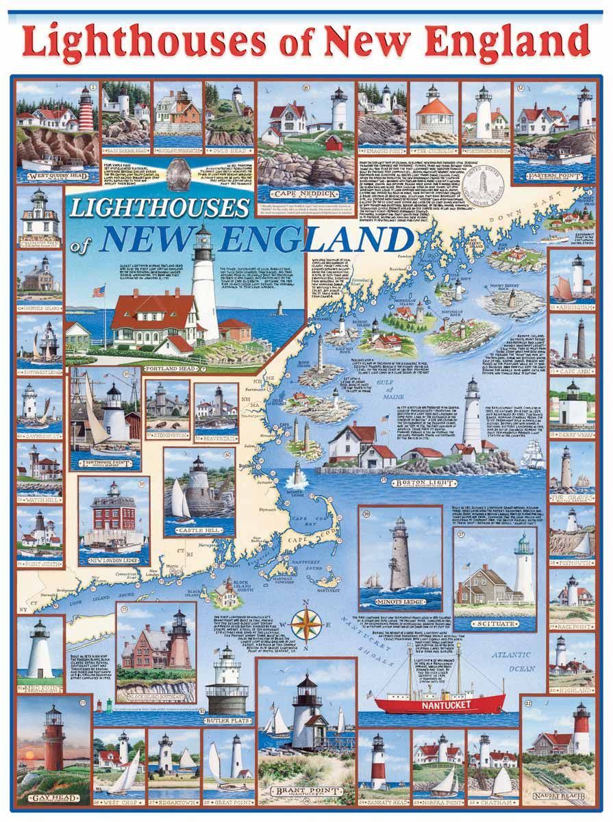 Green New England Beacons Lighthouse Cotton Quilting Fabric US Coast Guard