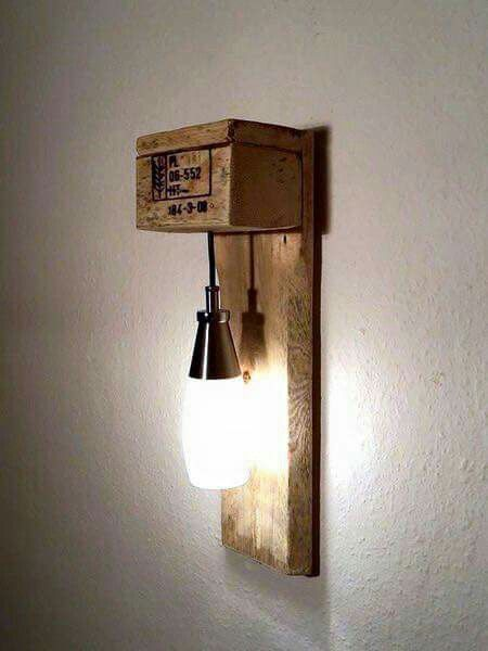 lampe de chevet diy pinterest pallets lights and woods. Black Bedroom Furniture Sets. Home Design Ideas
