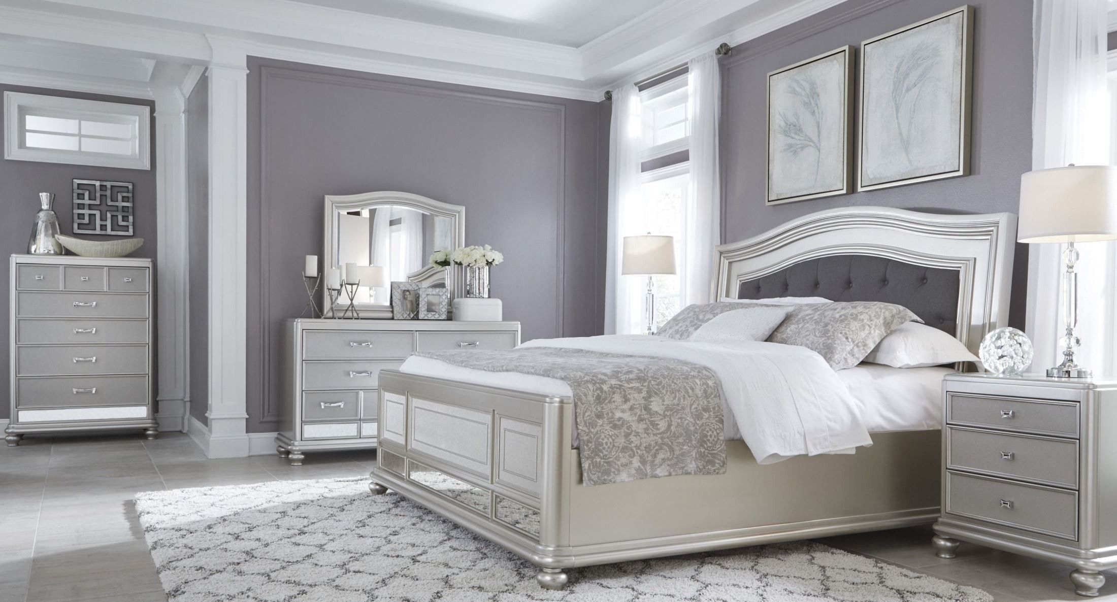 Coralayne Silver Bedroom Set  Silver bedroom, Bedroom furniture