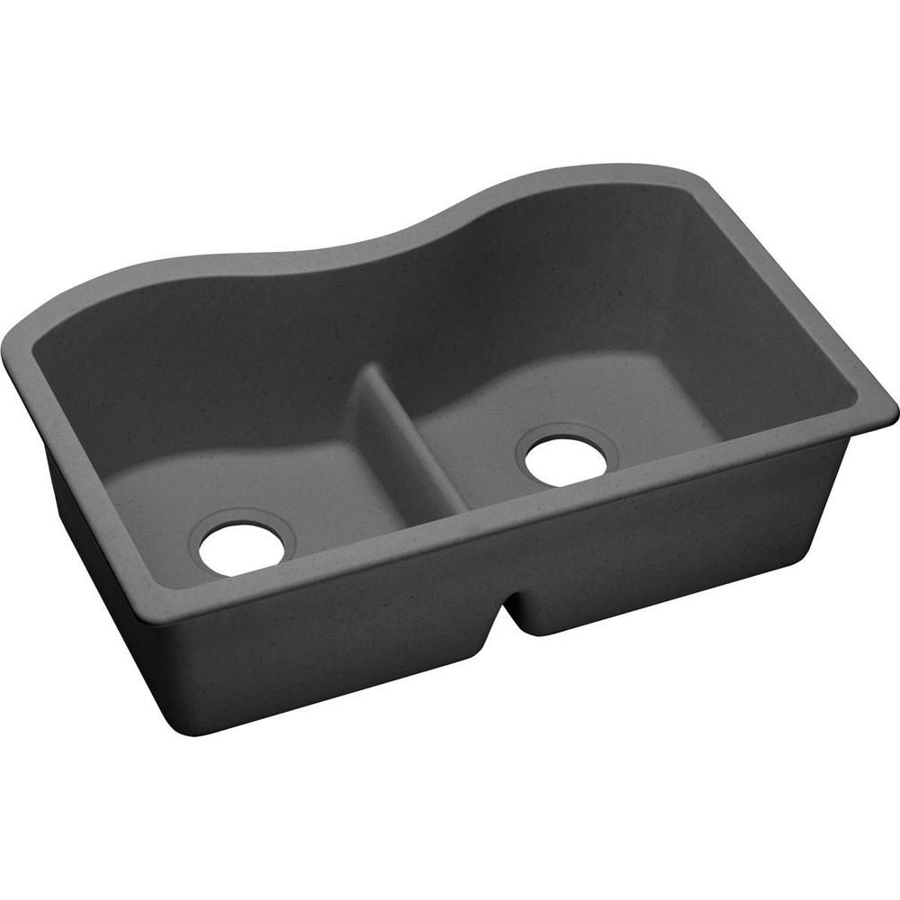 Quartz Classic Undermount 33 In Double Bowl Kitchen Sink In Dusk
