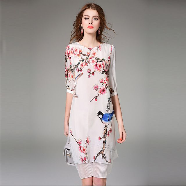 NEXIIA 2016 Spring Summer Women Vintage Chinese Style Pure Silk Print Dress Fake Two Pieces Half Sleeves Pleated Skirt NX16303