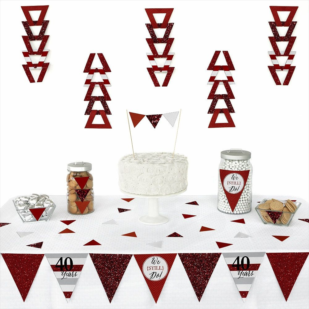 72 pc. We Still Do - 40th Wedding Anniversary - Pennant Decoration Kit with Die Cuts - Triangle Paper Party Kit for an Anniversary Party