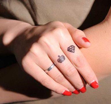 Accesorios De Moda Los Tatuajes De Diamantes En La Mano Tatuajes