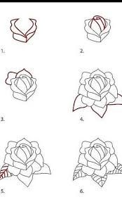 how to draw a red rose step by step