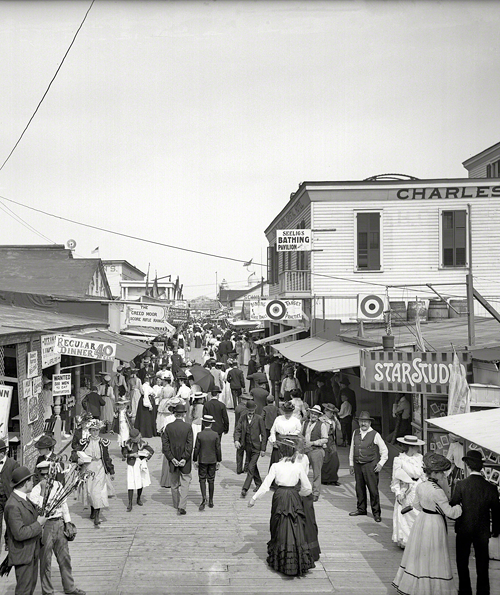 Rockaway, New York, circa 1905. The Bowery looking east.