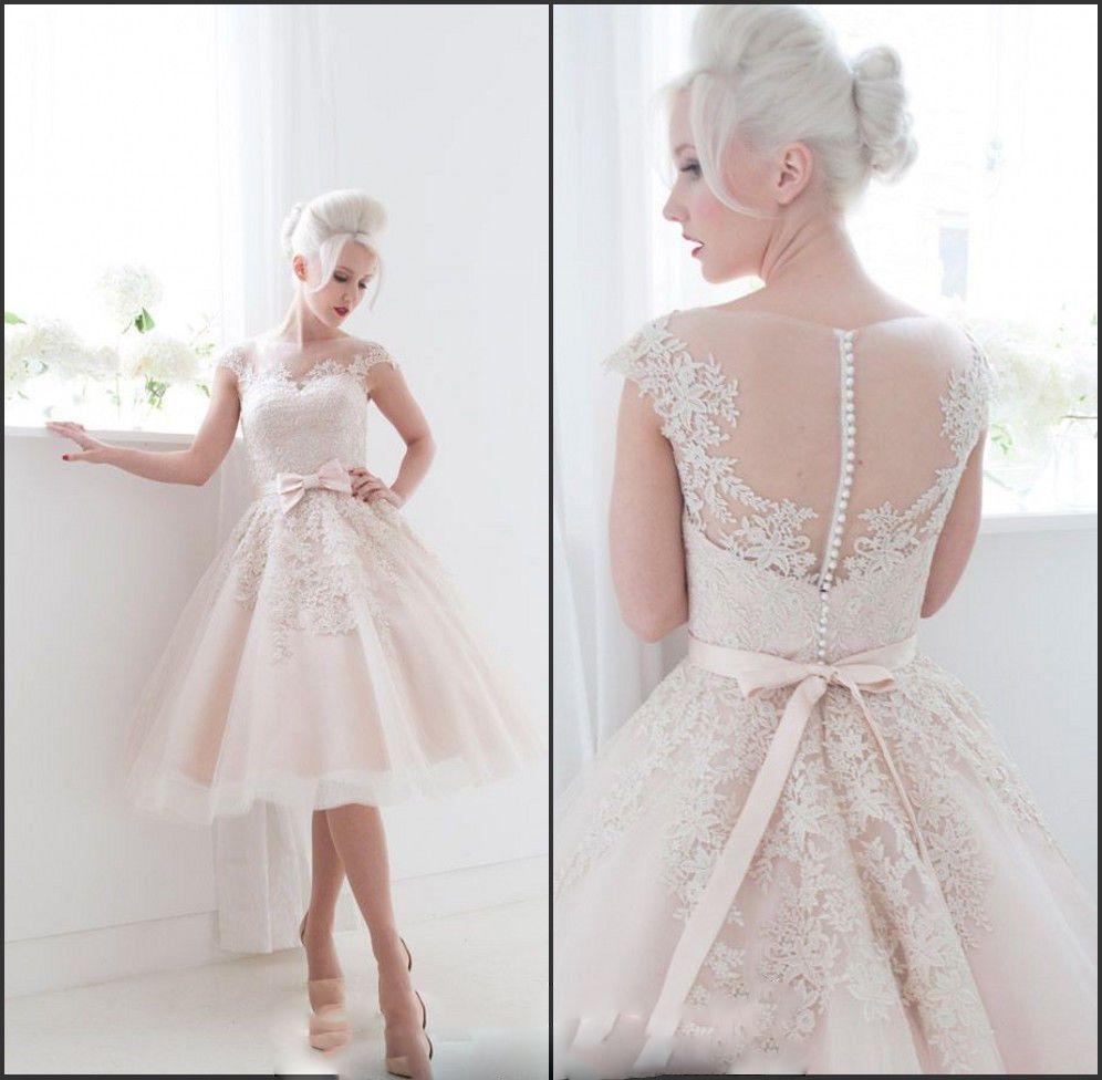Cheap Organza Retro Corto Te De Longitud La Rodilla Vestido Boda Nupcial Del Vintage Champagne Wedding DressesLace