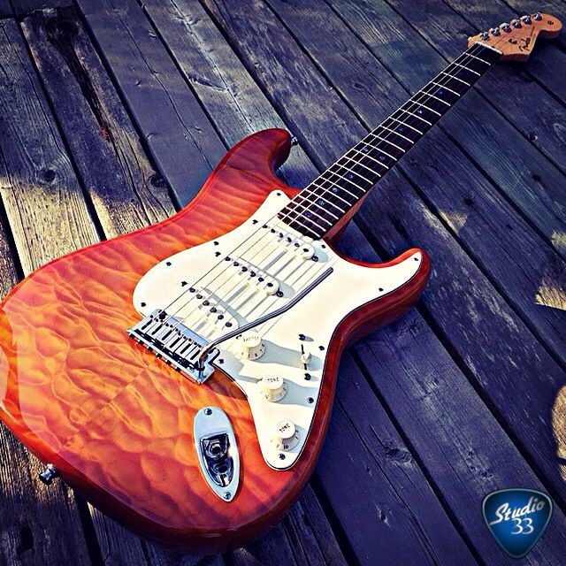 This beautiful quilted maple Stratocaster is from Instagram user @jefferybgood #stratocaster guitar Learn to play guitar online at www.studio33guitarlessons.com