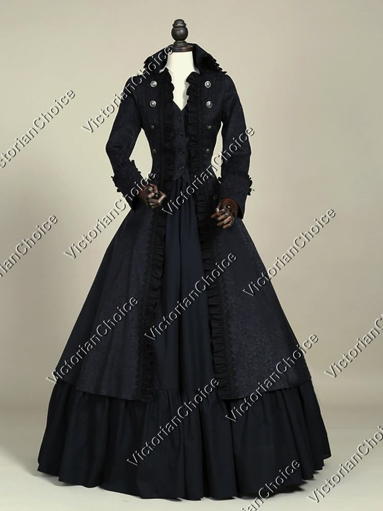 High Quality Victorian Edwardian Penny Dreadful Vampire Steampunk Collar Coat Dress Costume