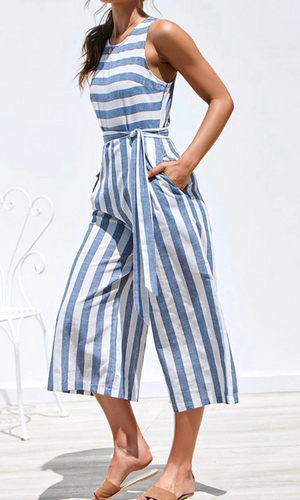 Stripe Print Jumpsuit Casual  #casualjumpsuit