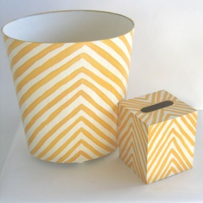 zebra wastebasket and tissue - yellow - by worlds away.