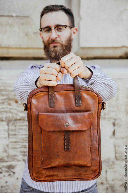 ef1816df23f9 Мужские сумки ручной работы. Ярмарка Мастеров - ручная работа. Купить Brick  Brown Bag. Handmade. Кожаные сумки