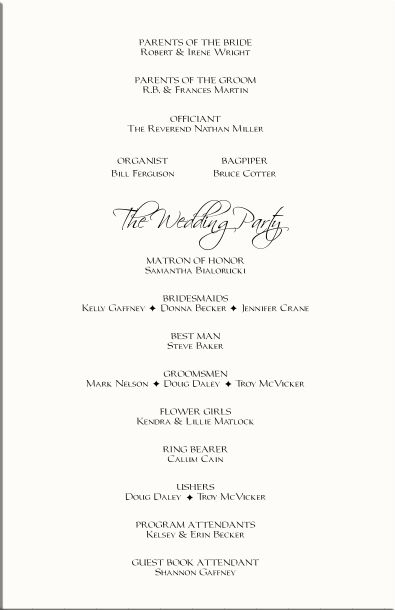 Retro Wedding Program - Order of service ceremony reception ...