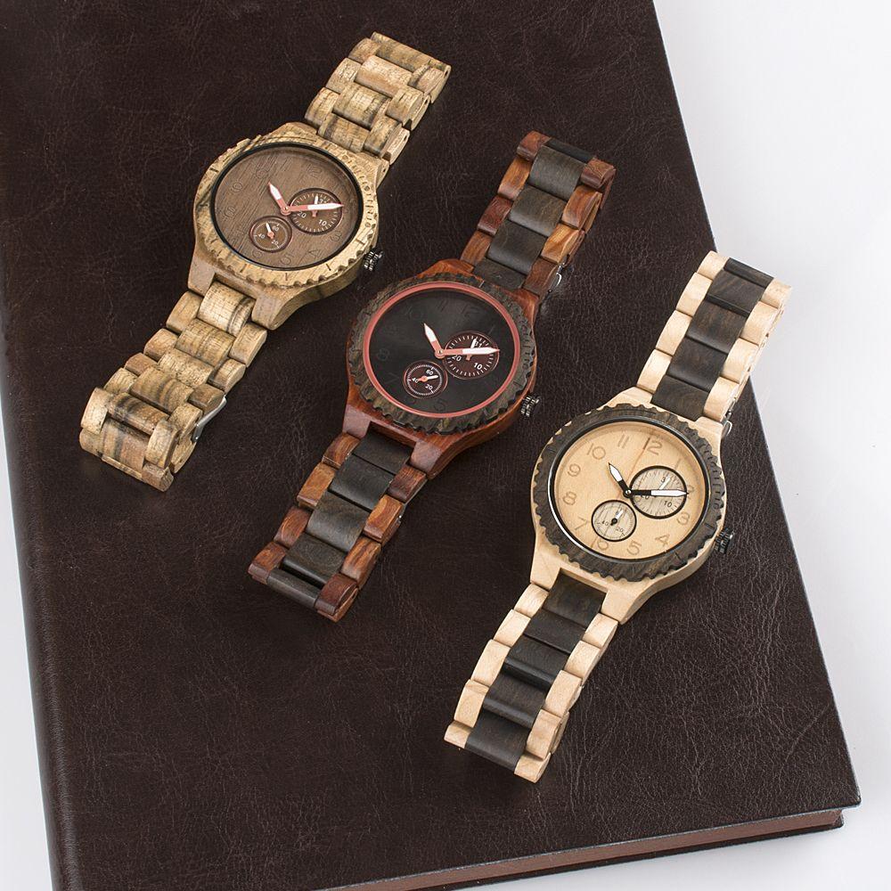 Custom logo on wooden wrist watch men with japan movt ...