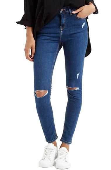 Topshop+Moto+'Jamie'+High+Rise+Ripped+Jeans+(Blue)+(Regular,+Short+&+Long)+available+at+#Nordstrom