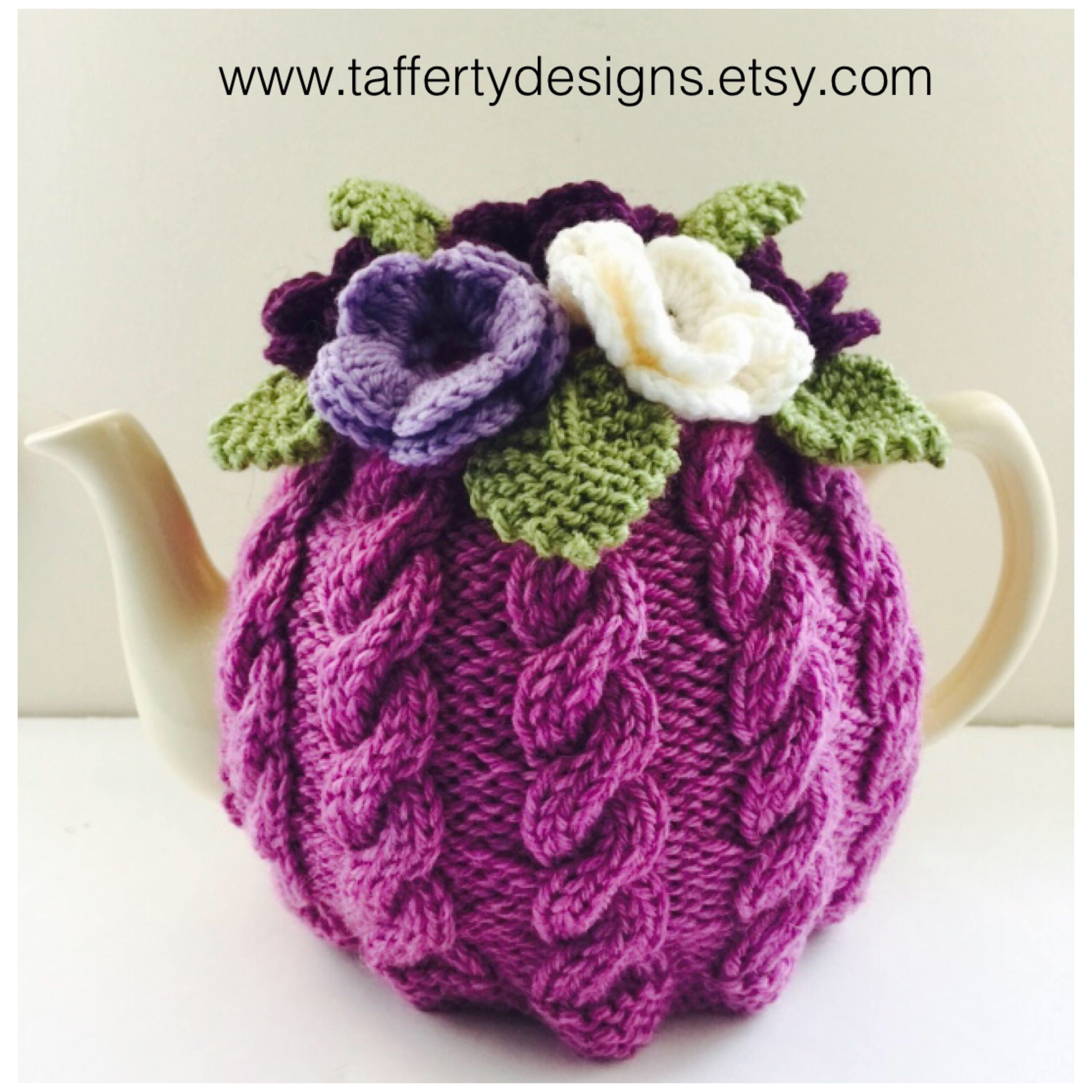 Floral Cabled Tea Cosy in Pure Wool - Size Medium - fits medium 6 ...