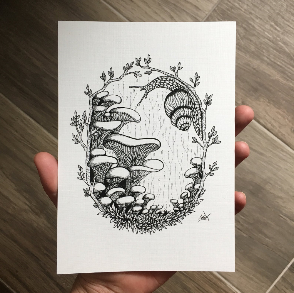 Art Print Snail Exploring Wild Mushrooms, Moss and Leafy Twigs