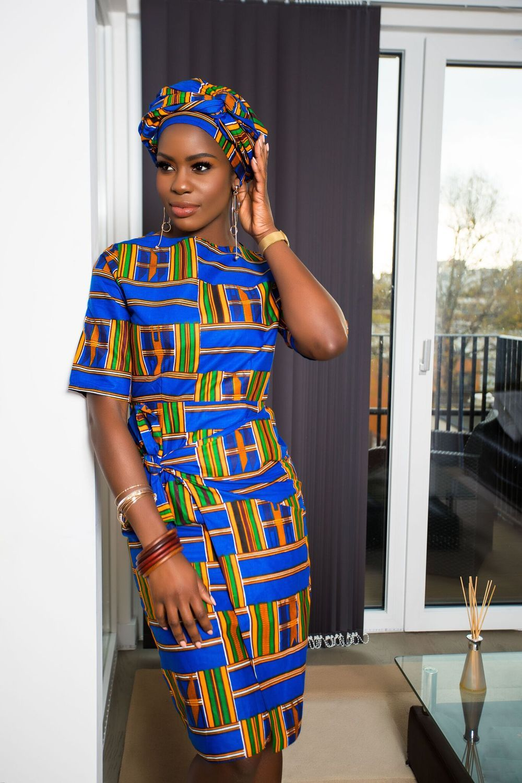 29544172 African Print Blue Kente Midi Dress| Grass-fields| flats for a statement  daytime look or heels for an evening look,