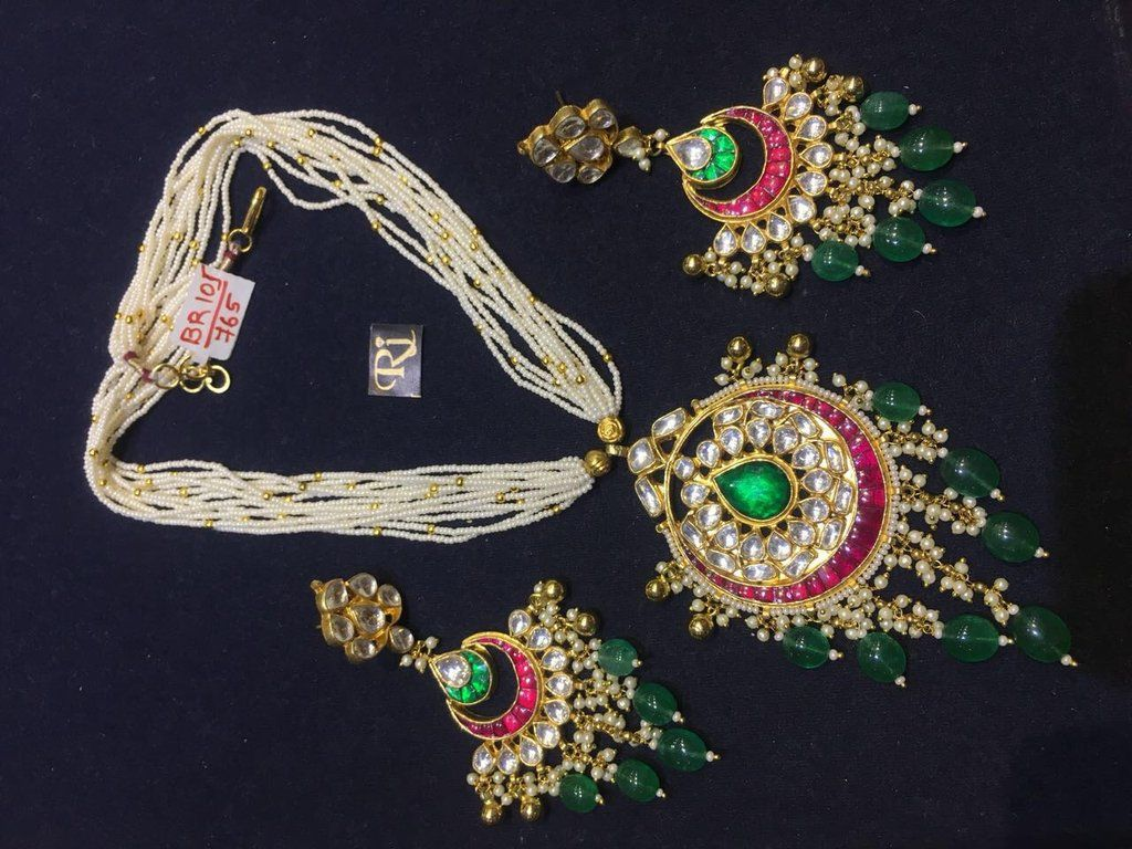 Kundan and beads necklace set bead necklaces beads and designers