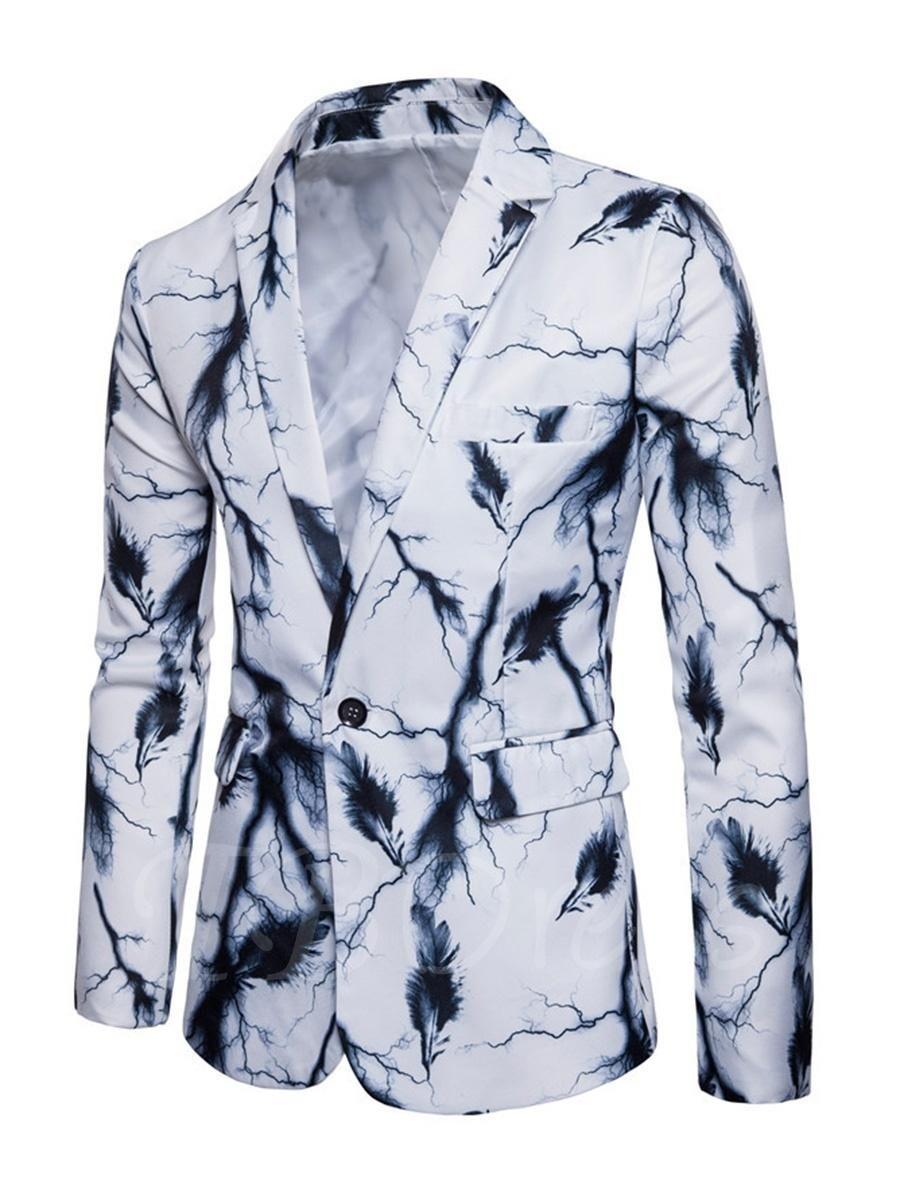 #TBDress - #TBDress Notched Collar One Button Splash-Ink Printed Slim Fit Mens Casual Blazer - AdoreWe.com