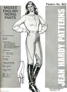 Misses' English Riding Pants Jean Hardy Sewing Pattern 960 size 6-18 Equestrian #JeanHardy #Equestrian