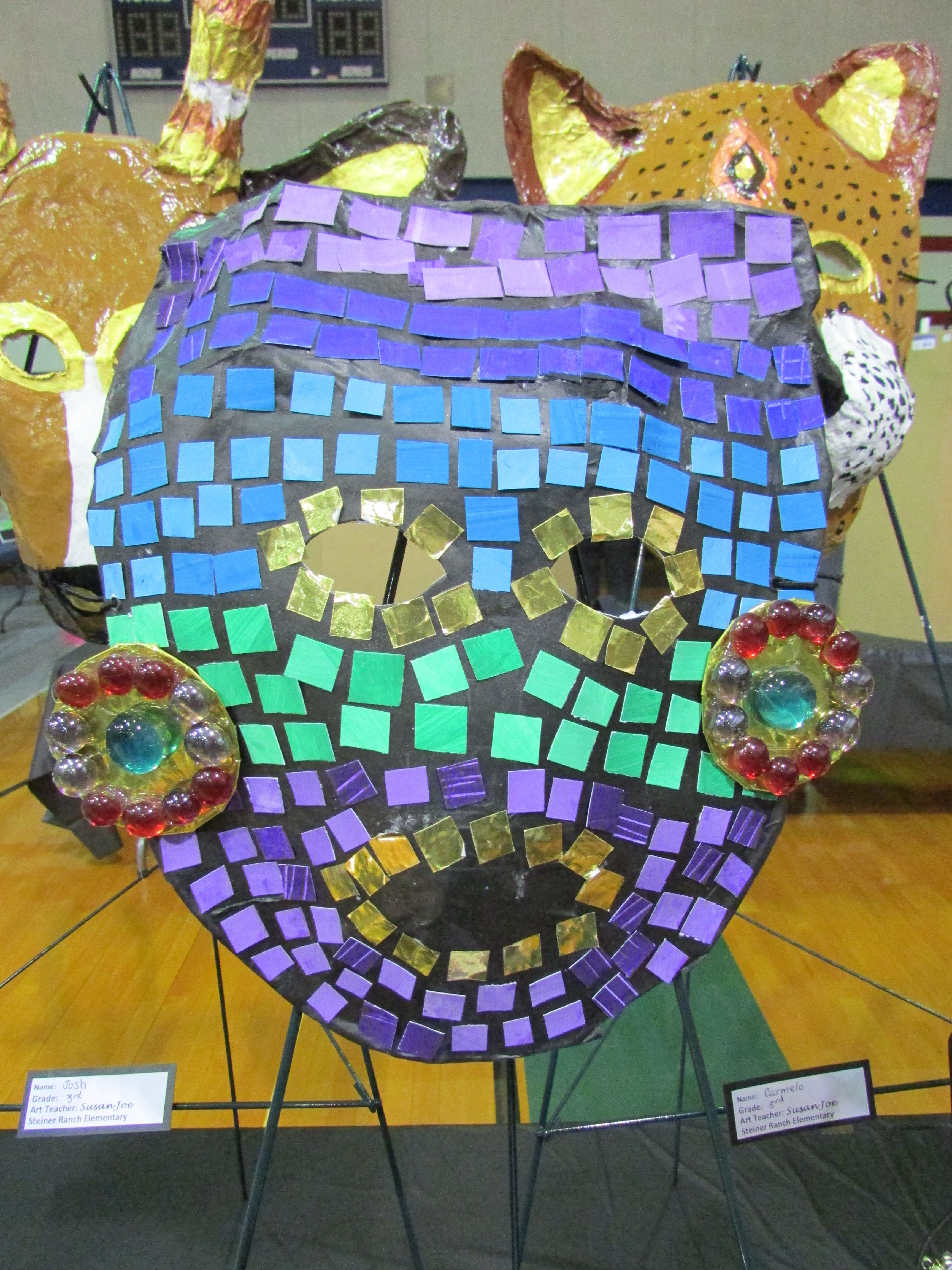 Snow Leopard 3rd Grade Paper Mache Ancient Mayan Mosaic Mask; Lesson Art Teacher Susan Joe