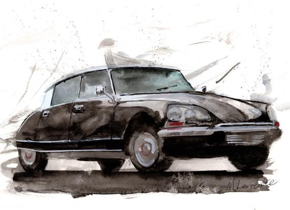 Citroen Ds Classic Car Numbered limited edition watercolour print by Myles Laurence Art watercolor giclee print