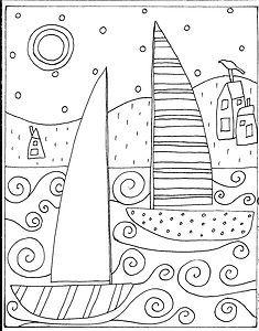 RUG HOOK PAPER PATTERN 2 Sailboats & Houses FOLK ART