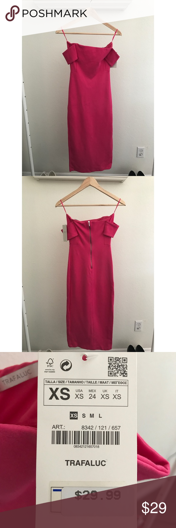 49e40b85 ZARA TRAFALUC PINK MIDI DRESS Hot pink off the shoulder bodycon dress.  Great for date night or Barbie Halloween costume 😛 !! Zara Dresses Midi