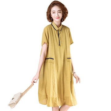 Season New Original Large Size Women's Long Lapels Short-sleeved Dress In The Long Paragraph A Skirt #season #new #original #large #size #women's #long #lapels #short-sleeved #dress #paragraph #skirt #casual #dresses #newchic