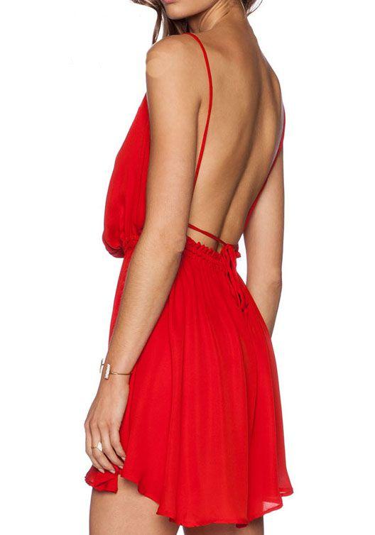 rückenfreies plissiertes Kleid-rot 15.02 | Wish List | Pinterest ...