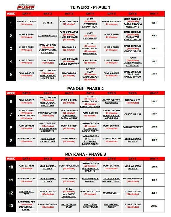 Les Mills Pump and Insanity hybrid schedule   For me   Les