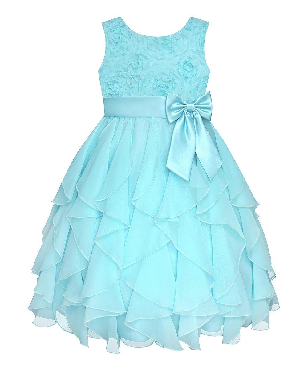 Aqua Rosette Cascade Dress Girls Plus Maria S Closet