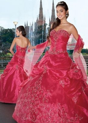 d836a96418f Fuchsia Sweetheart Bandage Floor Length Quinceanera Dresses With Embroidery  and Beading