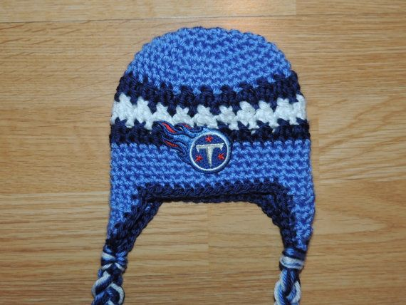 27877ce17984e Handmade Newborn Tennessee Titans Inspired Baby Earflap Crochet Hat ...