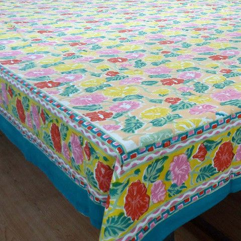 Delightful Pastel Flower, Tablecloth. 6   8 Seater Block Printed, Hand Made In India