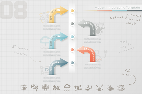 Posted by @newkoko2020 Modern Infographic Timeline (8) by Infographic Paradise on @creativemarket