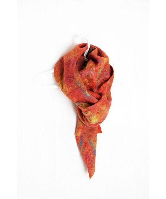 Wool Shawl Orange Felted Scarf Orange Wool Scarf by elenasfelting