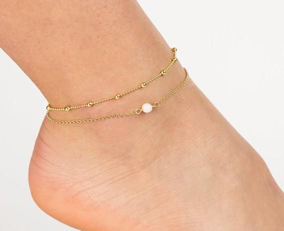 Photo of Moonstone Anklet Gold, Anklet, Boho Anklets for Women, Gold Anklets for Women, G…