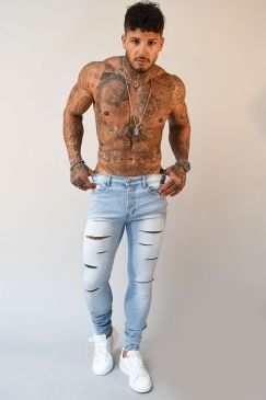 83ce469c Sinners Attire Ultra Ripped Skinny Jeans - Bleached | Tattoos ...