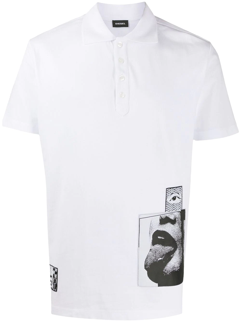 Diesel Jacquard Patch Shortsleeved Polo Shirt Farfetch Polo Shirt White Polo Shirt Polo