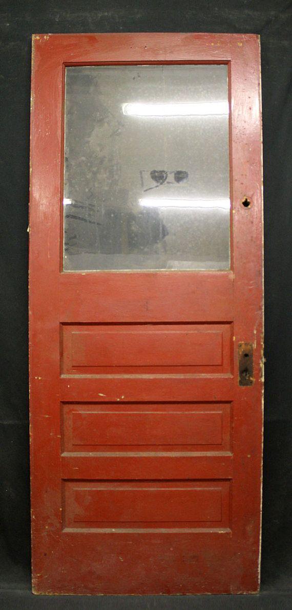 32 X 80 Antique Exterior Entry Pine Door 3 Raised Panels Wavy Glass Lite On Etsy 179 99 Old Wooden Doors Glass Panel Door How To Antique Wood