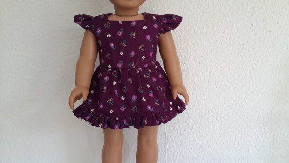 Floral mauve party dress for 18 American von PineappleBlueDesigns