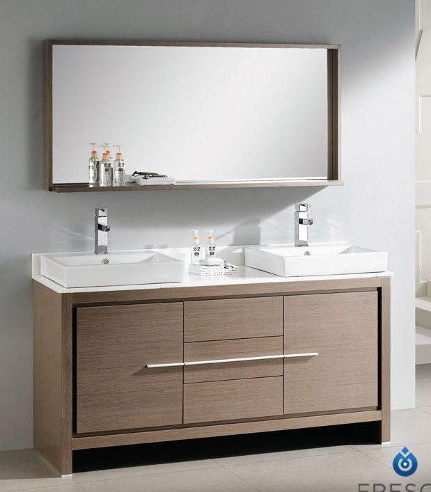 Fresca Allier 60 Modern Double Sink Bathroom Vanity Set With Mirror Reviews Allmode Contemporary Bathroom Vanity Bathroom Furniture Vanity Bathroom Vanity