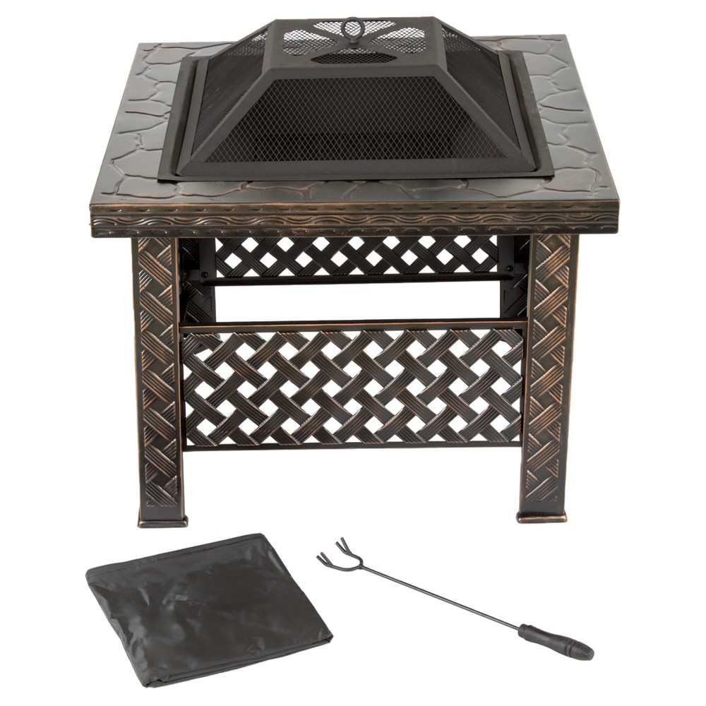 26 Square Wood Burning Woven Metal Fire Pit With Cover Bronze Pure Garden Fire Pit Sets Fire Pit Essentials Metal Fire Pit