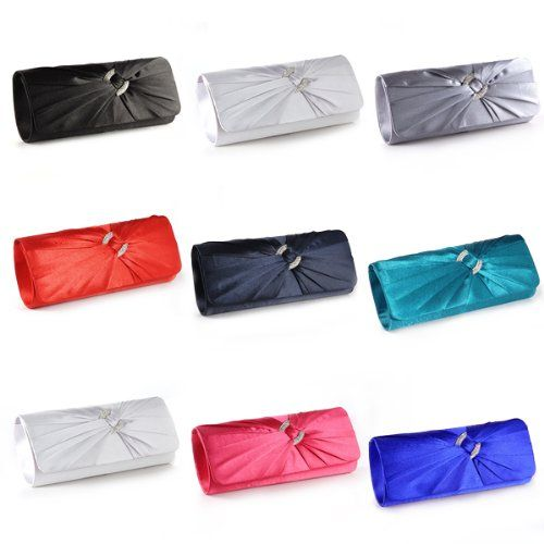 6b75e6a5d72 #sale Anladia Satin Diamante Pleated Evening Clutch Bag Bridal Handbag Prom  Purse