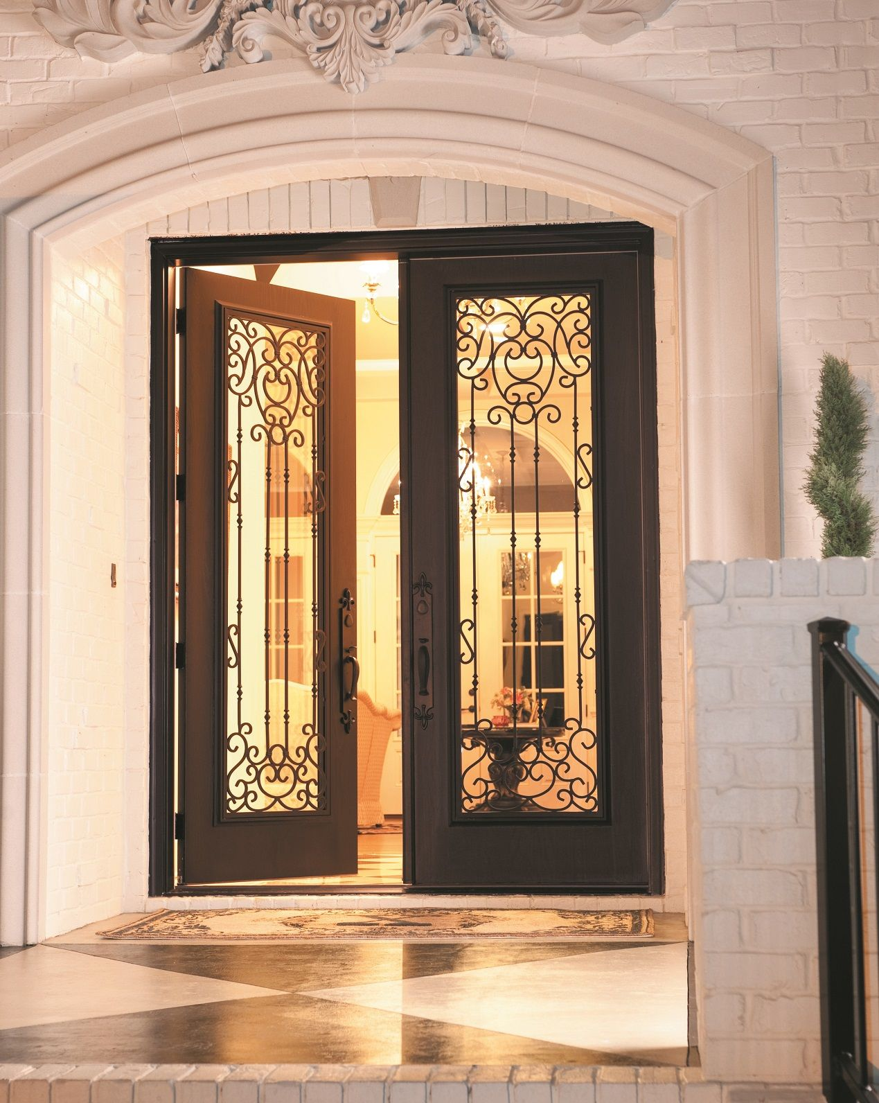 """Belle Meade"" #WroughtIron door glass. Swirls of wrought ..."